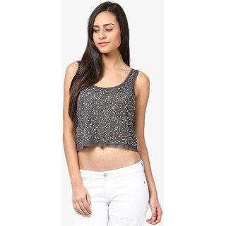 Grain Regular Fit Gray Polyester Sleeveless Top For Women