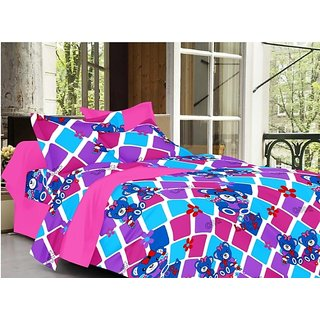 Valtellina Cartoon Design Pink Color TC-200 Double bedsheet  2 Pillow cover