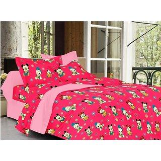 Valtellina Cartoon Design Pink Color TC-200 Double bedsheet  2 Pillow cover