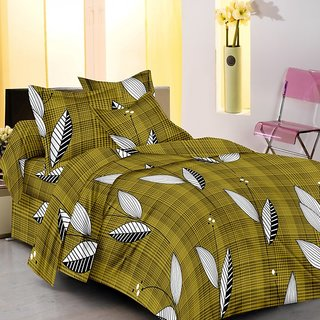 Homefab India 100% cotton Green Double Bed Sheet With 2 Pillow Covers (DBS100)