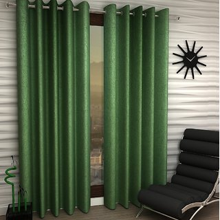 K Decor Green Polyester Window Eyelet Stitch Curtain Feet (Combo Of 2)
