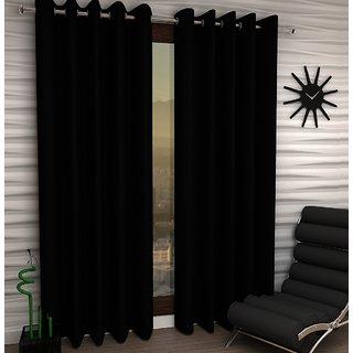 K Decor Black Polyester Window Eyelet Stitch Curtain Feet (Combo Of 2)