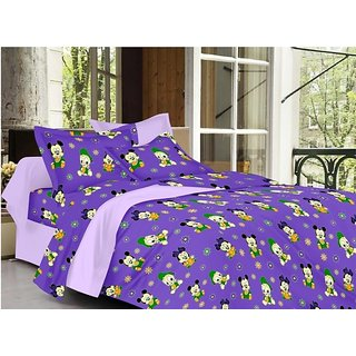 Valtellina Cartoon Design Purple Color TC-200 Double bedsheet  2 Pillow cover