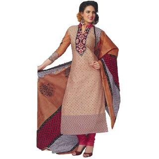 Samir Creation Unstitched  Cotton Dress Material Brown, Red, 1115