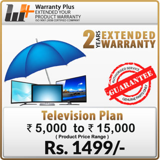 Warranty Plus an Extended Warranty on TV (Rs.5,000 to 15,000) For M.P. State