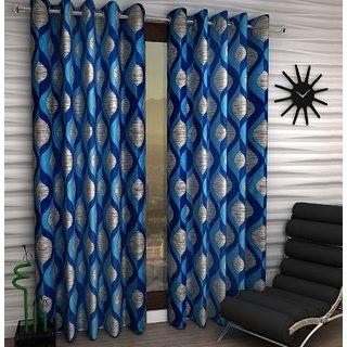 K Decor Blue Polyester Window Eyelet Stitch Curtain Feet (Combo Of 2)