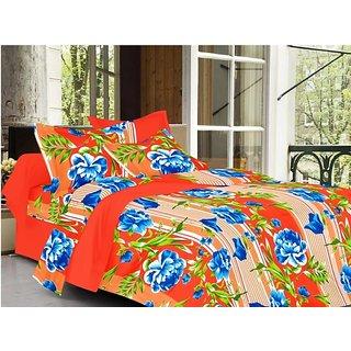 Valtellina Floral Design Orange Color TC-200 Double bedsheet  2 Pillow cover
