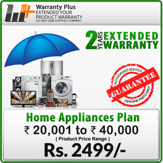 WarrantyPlus Extended Warranty on Home Appliances (Rs.20,001 to 40,000)