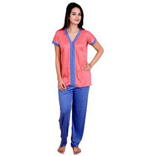 Kismat Fashion Stylish Peach Long Cotton Night Suit set Kn22