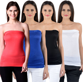NumBrave Womens Red, Blue, Black, White Tube Top (Combo of 4)