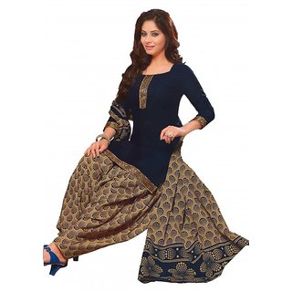 Women Shoppee Graphic Print Cotton Patiala Dress Material with Golden Laces
