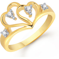 Meenaz Heart Ring For Girls  Women Gold Plated In American Diamond FR224