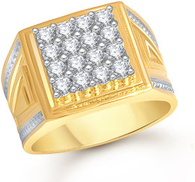 Meenaz Ring For Men Gold Plated In American Diamond Cz FR457
