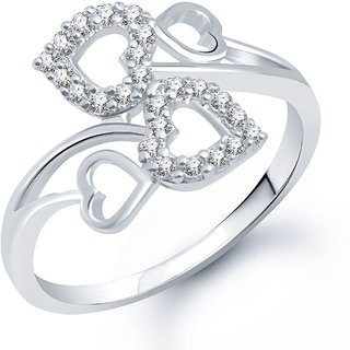 Meenaz Heart Ring For Girls  Women Silver Plated In American Diamond FR176