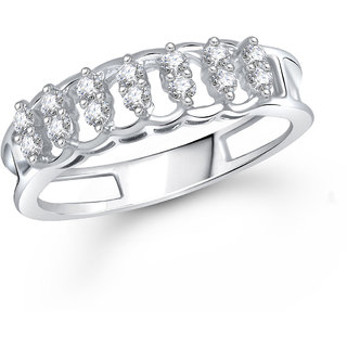 Meenaz Fancy Ring For Girls  Women Silver Plated In American Diamond Cz FR421
