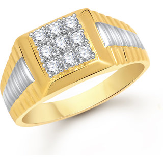 Meenaz Ring For Men Gold Plated In American Diamond Cz FR462