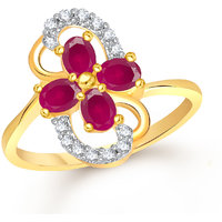 Meenaz Fancy Ring For Girls  Women Gold Plated In American Diamond Cz FR506