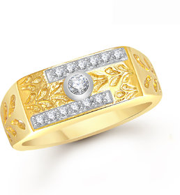 Meenaz Ring For Men Gold Plated In American Diamond Cz FR368
