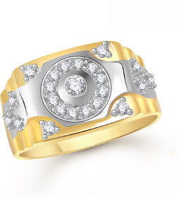 Meenaz Ring For Men Gold Plated In American Diamond Cz FR370
