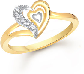 Meenaz Heart Ring For Girls  Women Gold Plated In American Diamond FR378