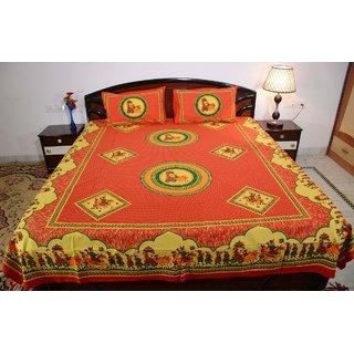 Vivid Rajasthan Multicolour Vibrant Cotton Double Queen Size Bedsheet(DB472)