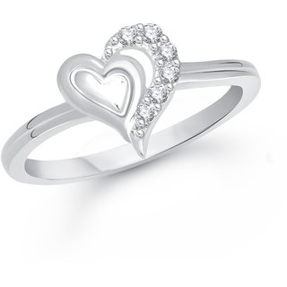 Meenaz Heart Ring For Girls Women Silver Plated In American Diamond FR381 c366e1aed1