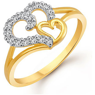 Meenaz Heart Ring For Girls  Women Gold Plated In American Diamond FR401