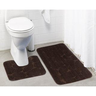 Lushomes Ultra Soft Microfiber Polyester Brown Large Bath Mat Set