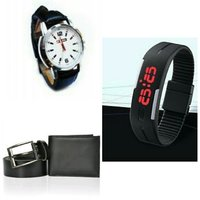 Mens Combo New Smart Led Band Watch  Leather Strap Watch ,Leather Belt,Wallet