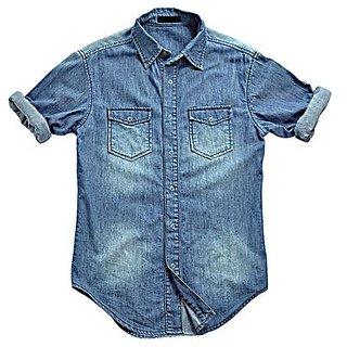 88618216d78 Buy Lafantar By Fasnoya Mens Slim Fit Denim Shirt (BLUE) Online   ₹2300  from ShopClues