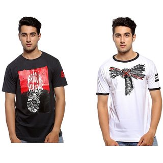 Trendmakerz Men's White  Grey Round Neck T-Shirt (Pack of 2)