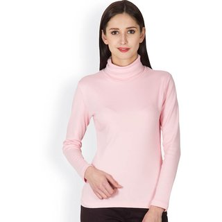Buy Hypernation High Neck Pink Color With Cotton T-shirt For Women ... 303e35252