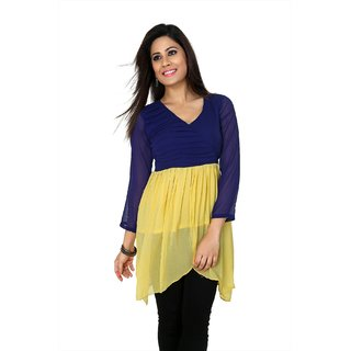 Blue and yellow chiffon readymade kurti (k5/36)