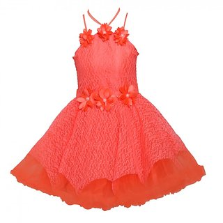 ChipChop Orange Embellished Sleeveless Party wear Dresses for Girls