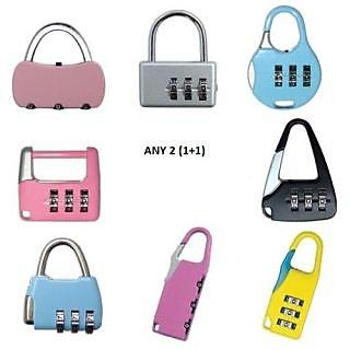 Set of 2- 3 Digit Resettable code Password Number Lock Combination Bag Padlock