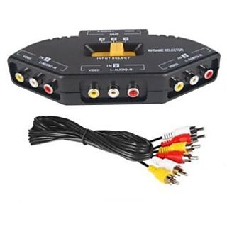 3-in-1 Audio Video Switch Selector Hub With Free Rca Cable