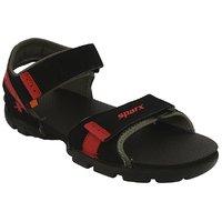 Sparx-109 Black Red Floater Sandals For Men