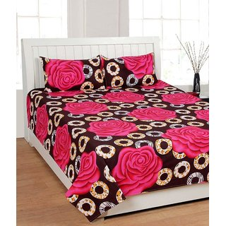 Arora Furnishing house Brown Cotton Floral Double Bedsheet with 2 pillow cover