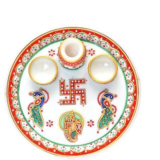 Chave India Marble Pooja Thali