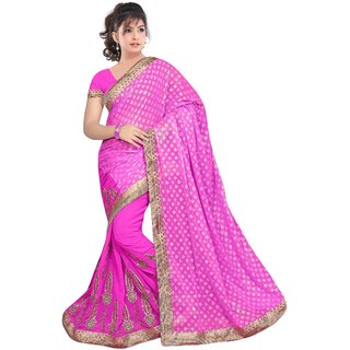 Radhika Fibers royal pink butti work georgette designer saree with blouse