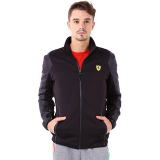 6d7584ffc435bc Buy Puma Solid Black Half Sleeve Casual Ferrari Softshell Mens ...