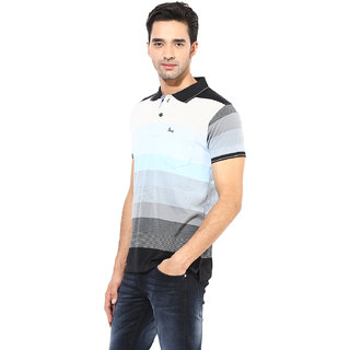 Okane Blue Half Sleeve Polo Neck Casual Wear T-shirts