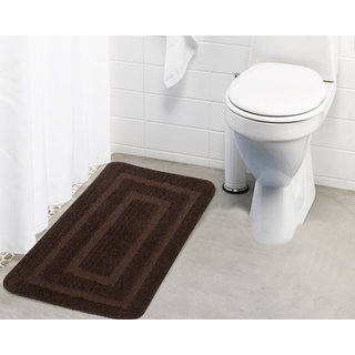 Lushomes Ultra Soft Microfiber Polyester Brown Large Bath Mat