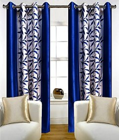 Zesture Polyester Multicolor Striped Eyelet Door Curtain