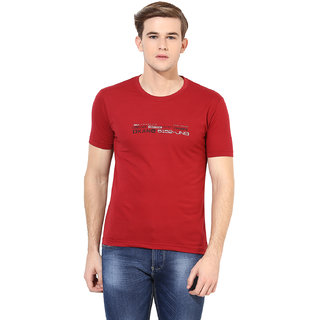 Okane Maroon Half Sleeve Round Neck Casual Wear T-shirts