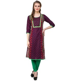 Prakhya Printed Womens Long straight cotton kurta-SW730PURPLE