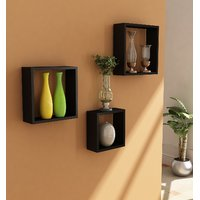 Home Sparkle Wooden Cube Wall Shelves Set Of 3 (Sh333)