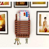 Home Sparkle Wooden Letter Rack Cum Key Holder (Sh354)