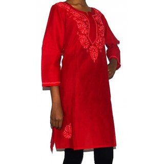 Lucknowi Chikan Embroidery Red Kurti