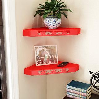 Home Sparkle Set Of 2 Corner Wall Shelves (Sh808)